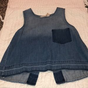 Blue Jean Sleeveless Blouse